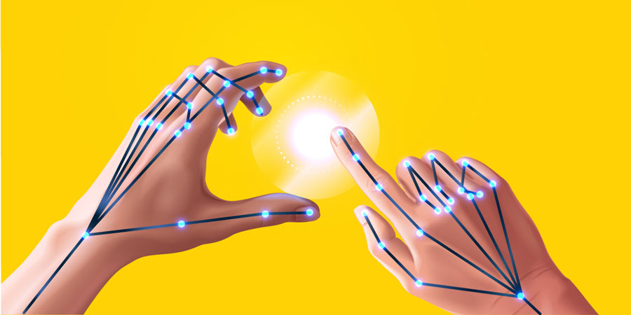 Hands interacting with a touchless interface