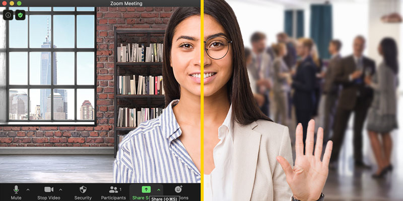 Image of woman in a virtual Zoom meeting and an in-person meeting simultaneously